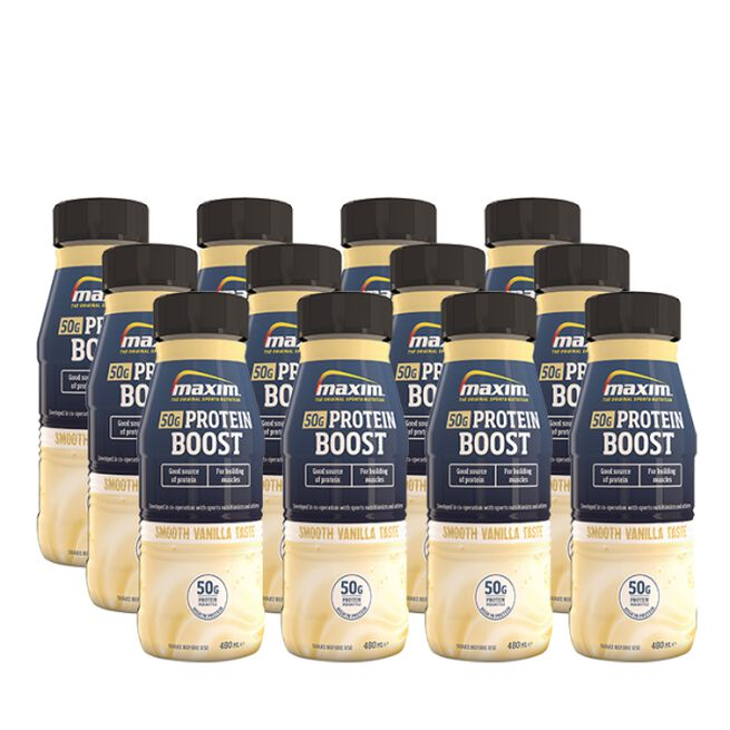 12 x Maxim Protein Boost, Smooth Vanilla, 480 ml