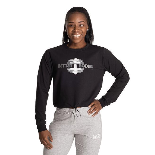 Better Bodies Empire Crop Print Crew, Black