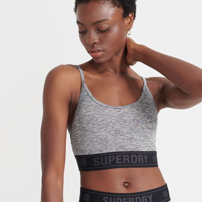 Superdry Training Logo Bra, Grey Marl