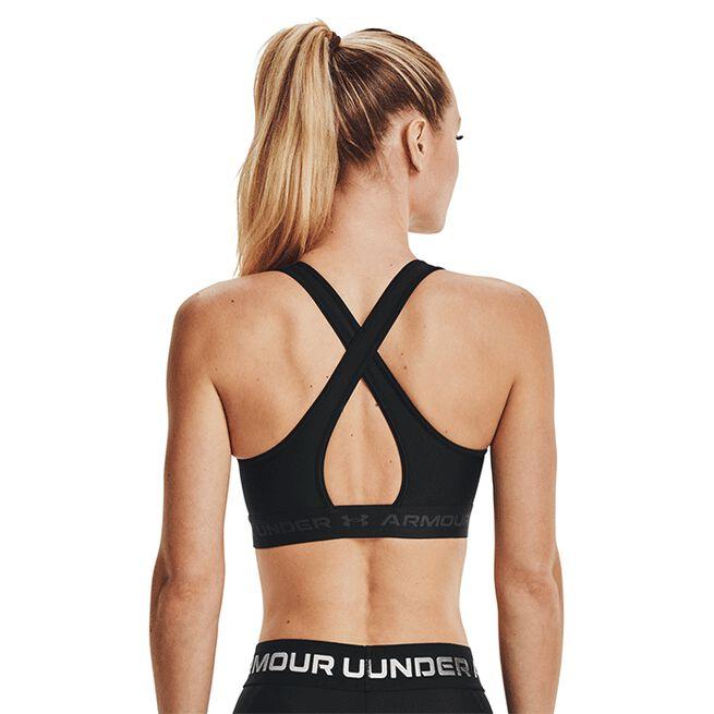 UA Crossback Mid Bra, Black, L