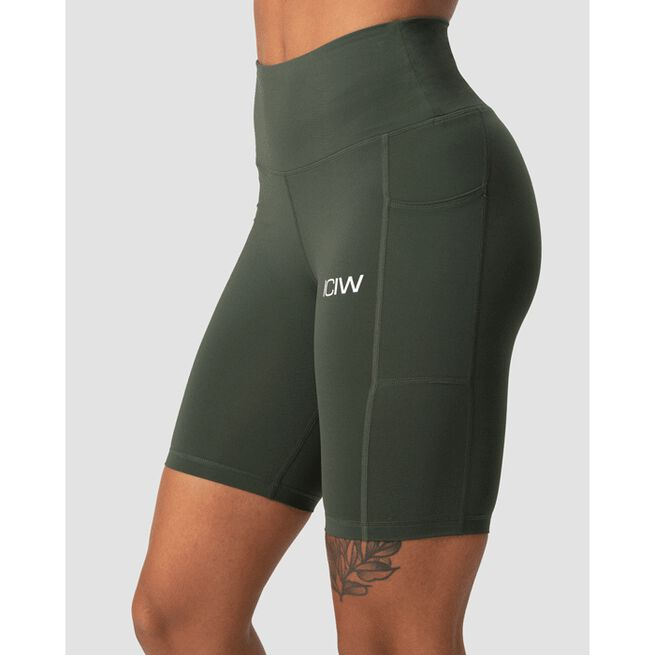 Scrunch Pocket Biker Shorts, Army Green, XS